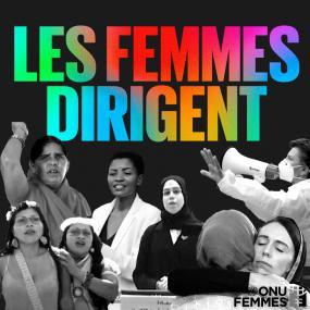 Montage de quatre photographies de femmes. Au-dessus, il est écrit « Les femmes dirigent.