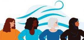 Illustration de quatre femmes regardant vers la droite. Une vague est en arrière-plan.