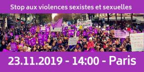 """Photo d'une manifestation avec l'inscription """"Stop aux violences sexistes et sexuelles, 23.11.2019 - 14:00 - Paris""""."""