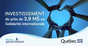 """À côté de plusieurs mains qui forment un coeur il est inscrit """"Investissement de près de 3,9 M$ en solidarité internationale""""."""