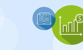 Illustration de deux cercles : un petit cercle bleu avec une icône de livre ouvert et un grand cercle vert avec une icône de graphique.