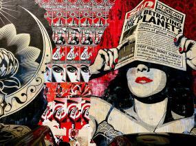 murale sous les teintes de rouge où on voit une femme se cachant les yeux avec journal avec le grand titre Are we betraying the planet?