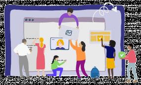 Illustration de personnes travaillant autour d'un écran : certains s'échangent des images, d'autres écrivent.