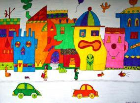 Illustration de couleurs vives d'un pâté de maison avec la route en avant plan.