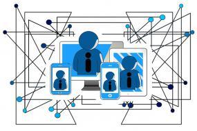 Illustration d'icônes de personnes accolées à des appareils numériques, reliées entre elles par des réseaux.
