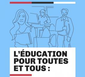 Page couverture du rapport « L'éducation pour toutes et tous ». Illustration sur fond bleu d'apprenant-es.