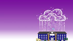 Illustration d'une école avec un nuage informatique au-dessus.