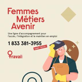 Visuel de Femmes.Métiers.Avenir : logo du CIAFT, numéro et nom de la ligne et illustration d'une femme travaillant dans le domaine de l'automobile.