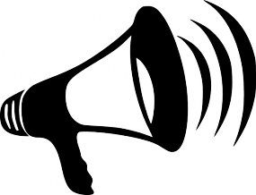 Illustration en noir et blanc d'un porte-voix.