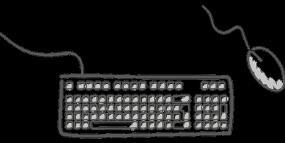 Illustration en noir et blanc d'un clavier et une souris d'ordinateur.
