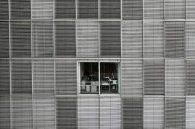 En noir et blanc, vu sur quelques étages d'un édifice. Les rideaux sont fermés, sauf pour une fenêtre.