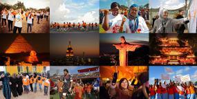 Collage de photographies de personnes soulignants les 16 jours autour du monde.