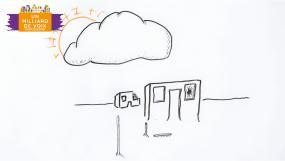 Illustration sommaire au crayon d'une école.