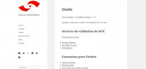 Page «Outils» du site de Tosca consultants