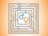 les signes masculin et féminin sont au centre d'un labyrinthe. Une flèche rejoint directement le signe masculin vers la sortie, alors que le signe féminin parcourt tout le labyrinthe