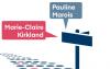 """Illustration d'un route avec un panneau d'affichage où deux phylactères sont placées au-dessus et où on y lit """"Marie-Claire Kirkland"""" et """"Pauline Marois""""."""