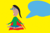Sur fond jaune, une personne est en position du lotus avec un phylactère bleu à sa droite.