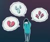 Illustration d'une personne, les mains sur le visage, entourée de trois phylactères contenant un coeur brisé, des larmes et des éclairs.