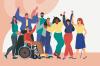 Illustration d'un groupe diversifié de personnes.