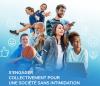 Extrait de la page couverture du plan : montage d'une diversité des personnes réalisant différentes activités. Des emoticônes blancs entourent les personnes.
