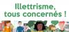 """Illustration des différentes personnes avec la mention """"Illetrisme, tous concernés!""""."""