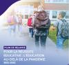 Extrait de la page couverture du plan de relance. Photographie d'élèves qui se dirigent vers l'entrée d'une école.