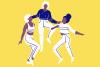 Illustration de trois personnes sur fond jaune. Une personne au milieu se soulève en s'appuyant sur les deux autres personnes.