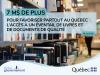 Sur une photographiq de rayonnage de biblothèque : 7 M$ de plus pour favoriser partout au Québec l'accès à un éventail de livres et de documents de qualité.