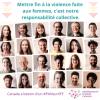 Collage de plusieurs photos de personnes qui sourient. Au-dessus, il est écrit « Mettre Mettre fin à la violence faite aux femmes, c'est notre responsabilité collective ». Au-dessous, il est écrit « Canada a besoin d'un #PANsurVFF, Hébergement Femmes Canada ».