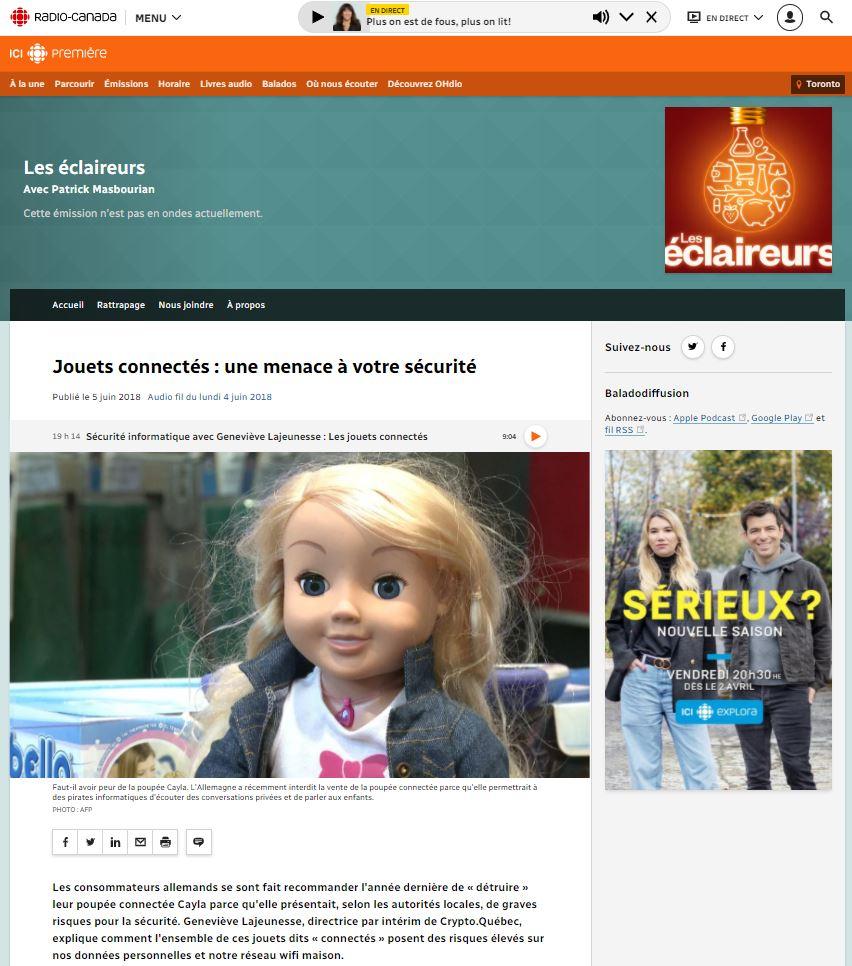 Article sur le site de Radio Canada présentant la poupée Mon amie Cayla en photo
