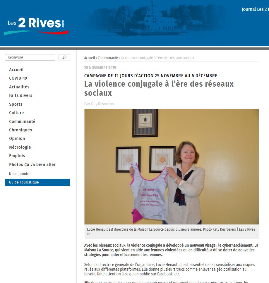 Page de l'article sur le site Les 2 rives