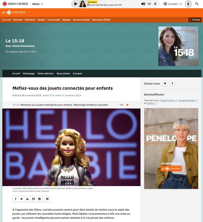 Article sur le site de Radio Canada présentant une poupée Hello Barbie en photo