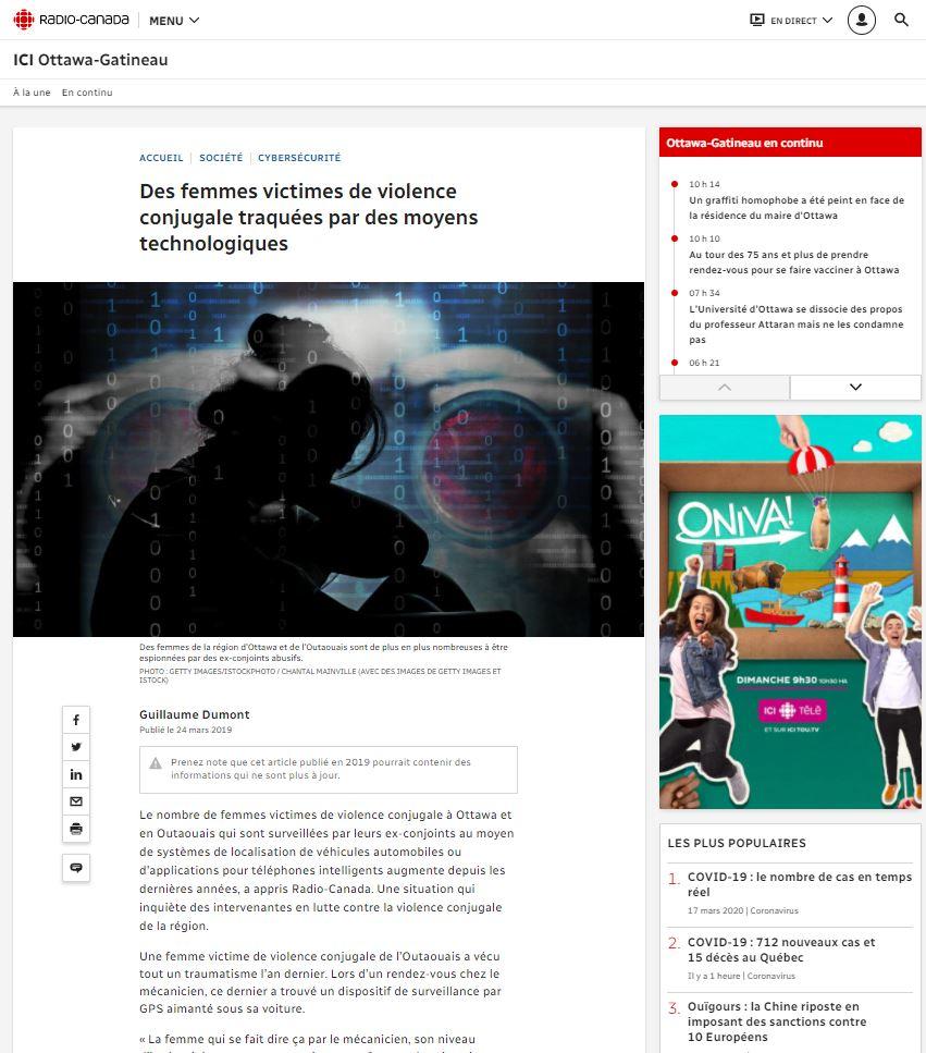 Page de l'article sur le site de Radio Canada