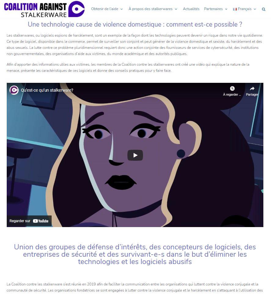 Page d'accueil présentant une vidéo explicative des stalkerware