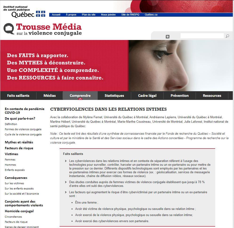 page du site consacrée à la cyberviolence